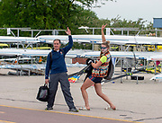 Plovdiv, Bulgaria, 9th May 2019, FISA, Rowing World Cup 1,  Marc NOWAK, Left, Team Physio, and Molly BRUGGEMAN, Right, relaxing, pose for photo, in Boat Area.<br /> [© Peter SPURRIER]