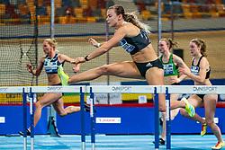 Nadine Visser in action on the 60 meter hurdles during AA Drink Dutch Athletics Championship Indoor on 21 February 2021 in Apeldoorn.