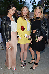 Left to right, ROXIE NAFOUSI, ROSIE FORTESCUE and OLIVIA PERRY at a private view in aid of Chickenshed of Julian Schnabel's first UK solo show of paintings for 15 years entitled 'Every Angel Has A Dark Side' held at the Dairy Art Centre, 7a Wakefield Street, Bloomsbury, London on 24th April 2014.