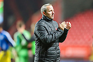 Charlton Athletic manager Lee Bowyer applauds the home fans after the EFL Sky Bet League 1 match between Charlton Athletic and Bristol Rovers at The Valley, London, England on 24 November 2018.