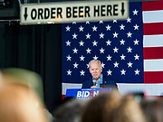 01 MAY 2019 - IOWA CITY, IOWA:  Former Vice President JOE BIDEN gives his speech during his campaign event in Iowa City. The event was held in microbrewery Biden is running to be the Democratic nominee for the US Presidency in 2020. He is campaigning in Iowa City and Des Moines today. Iowa traditionally hosts the the first selection event of the presidential election cycle. The Iowa Caucuses will be on Feb. 3, 2020.             PHOTO BY JACK KURTZ