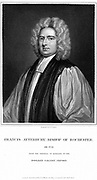 Francis Atterbury (1663-1732) English prelate; polemical writer and orator; Bishop of Rochester 1713. After succession of George I (1714) supported Jacobite cause; exiled 1723; died in Paris. Engraving after portrait by Kneller.