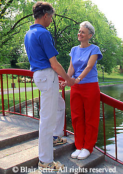 Active Aging Senior Citizens, Retired, Activities, Elderly Couple Relax in City Park, Fun Together, Romance
