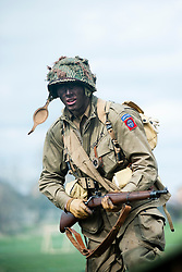 Reeactor portraying a paratrooper from the US 82nd Airborne (All American).carrying a Springfield 1903 .30-06 caliber Rifle.21 April  2013.Image © Paul David Drabble