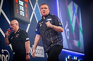 Glen Durrant (England) reacts, celebrates, during the William Hill World Darts Championship at Alexandra Palace, London, United Kingdom on 28 December 2020.