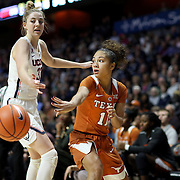 UNCASVILLE, CONNECTICUT- DECEMBER 4: Brooke McCarty #11 of the Texas Longhorns in action while defended by Katie Lou Samuelson #33 of the Connecticut Huskies during the UConn Huskies Vs Texas Longhorns, NCAA Women's Basketball game in the Jimmy V Classic on December 4th, 2016 at the Mohegan Sun Arena, Uncasville, Connecticut. (Photo by Tim Clayton/Corbis via Getty Images)