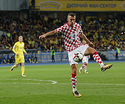 October 9, 2017 - Kiev, Ukraine - Ivan Perisic of Croatia controls the ball during the FIFA 2018 World Cup Group I Qualifier between Ukraine and Croatia at Kiev Olympic Stadium on October 9, 2017 in Kiev, Ukraine. Ukraine fail to reach the play-offs as they lose 2-0. (Credit Image: © Sergii Kharchenko/NurPhoto via ZUMA Press)
