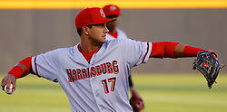 May 2, 2017 - Trenton, New Jersey, U.S - DREW WARD of the Harrisburg Senators at third base in the game vs. the Trenton Thunder at ARM & HAMMER Park. He would hit a two-run homer later-- in the fifth inning of the game. (Credit Image: © Staton Rabin via ZUMA Wire)