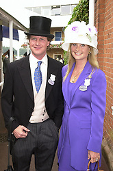 MR & MRS BEN SANGSTER he is the son of racehorse <br /> owner Robert Sangster, at Royal Ascot on 20th June 2000.<br /> OFN131<br /> © Desmond O'Neill Features:- 020 8971 9600<br />    10 Victoria Mews, London.  SW18 3PY <br /> www.donfeatures.com   photos@donfeatures.com<br /> MINIMUM REPRODUCTION FEE AS AGREED.<br /> PHOTOGRAPH BY DOMINIC O'NEILL