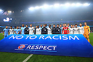 The teams stand in front of an anti-racism banner - Manchester City vs. CSKA Moscow - UEFA Champions League - Etihad Stadium - Manchester - 05/11/2014 Pic Philip Oldham/Sportimage