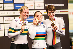 March 2, 2018 - Apeldoorn, Netherlands - (L/R) Gold medalist Germany's Kristina Vogel, Silver medalist Australia's Stephanie Morton and Bronze medalis Germany's Pauline Sophie Grabosch pose on the podium after taking part in the women's sprint final during the UCI Track Cycling World Championships in Apeldoorn on March 2, 2018. (Credit Image: © Foto Olimpik/NurPhoto via ZUMA Press)