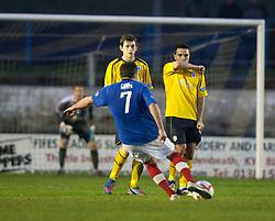Cowdenbeath's Jamie Stevenson scoring their fourth goal from a free kick..Cowdenbeath 4 v 1 Falkirk, 9/2/2013..©Michael Schofield.