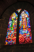 Stained glass window, Mont Saint-Michel chapel, Normandy, France