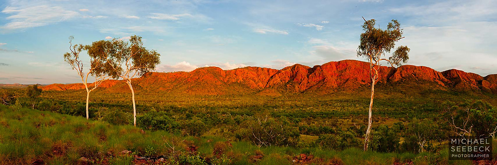 Early morning view of Saw Range in the East Kimberleys, from a lower range to the east.<br /> <br /> Code: HAWK0006<br /> <br /> Limited Edition of 125 Prints