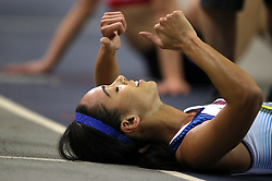 Great Britain's Katarina Johnson-Thompson after finishing first in the Pentathlon Women 800m and winning gold in the overall Pentathlon event during day one of the European Indoor Athletics Championships at the Emirates Arena, Glasgow.