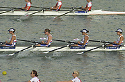 Seville, Andalusia, SPAIN<br /> <br /> 2002 World Rowing Championships - Seville - Spain Sunday 15/09/2002.<br /> <br /> Rio Guadalquiver Rowing course<br /> <br /> GBR LW4X<br /> Tegwen Rooks, Alison Eastman, Jo Nitsch and Sarah Birch<br /> <br /> [Mandatory Credit:Peter SPURRIER/Intersport Images]