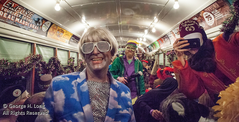 George Long and the Phunny Phorty Phellows ride the St. Charles Avenue streetcar heralding the arrival of the Carnival season on Twlefth Night, leading to Mardi Gras in New Orleans