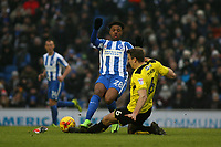 Football - 2016 / 2017 Sky Bet Championship - Brighton & Hove Albion vs. Burton Albion<br /> <br /> Ben Turner of Burton Albion dives in to tackle Brighton's Chuba Akpom at the Amex Stadium Brighton<br /> <br /> COLORSPORT/SHAUN BOGGUST