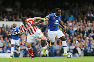 Romelu Lukaku of Everton (r) gets away from Geoff Cameron of Stoke City. Premier league match, Everton v Stoke city at Goodison Park in Liverpool, Merseyside on Saturday 27th August 2016.<br /> pic by Chris Stading, Andrew Orchard sports photography.
