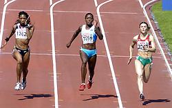 n/z.: Joice Maduaka (nr1262-Wielka Brytania), Merlene Ottey (nr1659-Slowenia), Alena Neumiarzytskaja (nr1044-Bialorus) podczas biegu na 100 m  podczas Mistrzostw Europy w lekkiej atletyce w Goeteborgu, Goeteborg , Szwecja , 08-08-2006 , fot.: Adam Nurkiewicz / mediasport..Joice Maduaka (nr1262-Great Britain), Merlene Ottey (nr1659-Slovenia), Alena Neumiarzhytskaya (nr1044-Belarus) during qualifications 100 m woman during EAA European Athletics Championships in Goteborg. August 08, 2005 ; Gothenburg , Sweden ( Photo by Adam Nurkiewicz / mediasport )