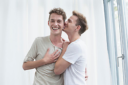 Homosexual couple embracing each other, smiling