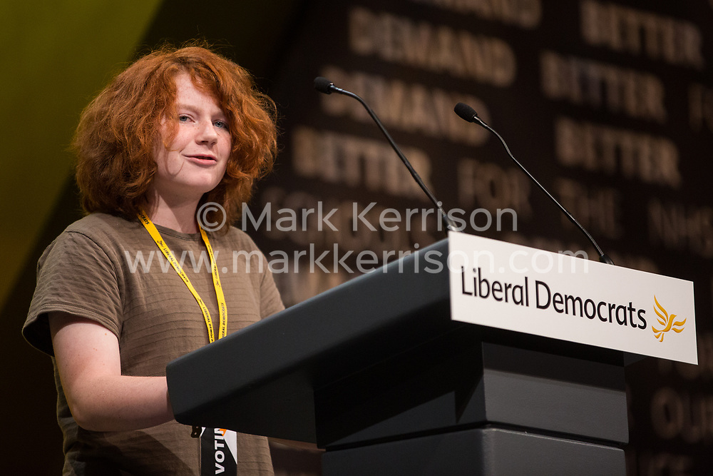 Bournemouth, UK. 15 September, 2019. Niamh O'Connell, 13, speaks on the Stop Brexit motion during the Liberal Democrat Autumn Conference. Following a vote won by an overwhelming majority, the Liberal Democrats pledged to cancel Brexit if they win power at the next general election. This marks a shift in policy from their previous backing for a People's Vote. Credit: Mark Kerrison/Alamy Live News
