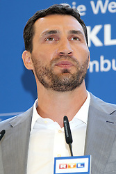 10.05.2011, Imtech Arena, Hamburg, GER, WBO und IBF WM, Wladimir Klitschko vs David Haye, Presse Conference, im Bild Boxer Wladimir Klitschko during the press conferece of the boxing heavyweight unification fight  Wladimir Klitschko vs. David Haye at Imtech Arena. EXPA Pictures © 2011, PhotoCredit: EXPA/ EXPA/ Newspix/ Future Images +++++ ATTENTION - FOR AUSTRIA/(AUT), SLOVENIA/(SLO), SERBIA/(SRB), CROATIA/(CRO), SWISS/(SUI) and ..SWEDEN/(SWE) CLIENT ONLY +++++ / SPORTIDA PHOTO AGENCY