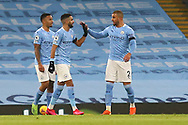 GOAL 2-0 Manchester City midfielder Riyad Mahrez (26) scores a goal and celebrates during the Premier League match between Manchester City and Burnley at the Etihad Stadium, Manchester, England on 28 November 2020.