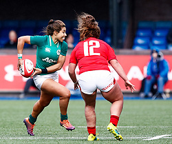 Sene Naoupu of Ireland  under pressure from Lleucu George of Wales <br /> <br /> Photographer Simon King/Replay Images<br /> <br /> Six Nations Round 5 - Wales Women v Ireland Women- Sunday 17th March 2019 - Cardiff Arms Park - Cardiff<br /> <br /> World Copyright © Replay Images . All rights reserved. info@replayimages.co.uk - http://replayimages.co.uk