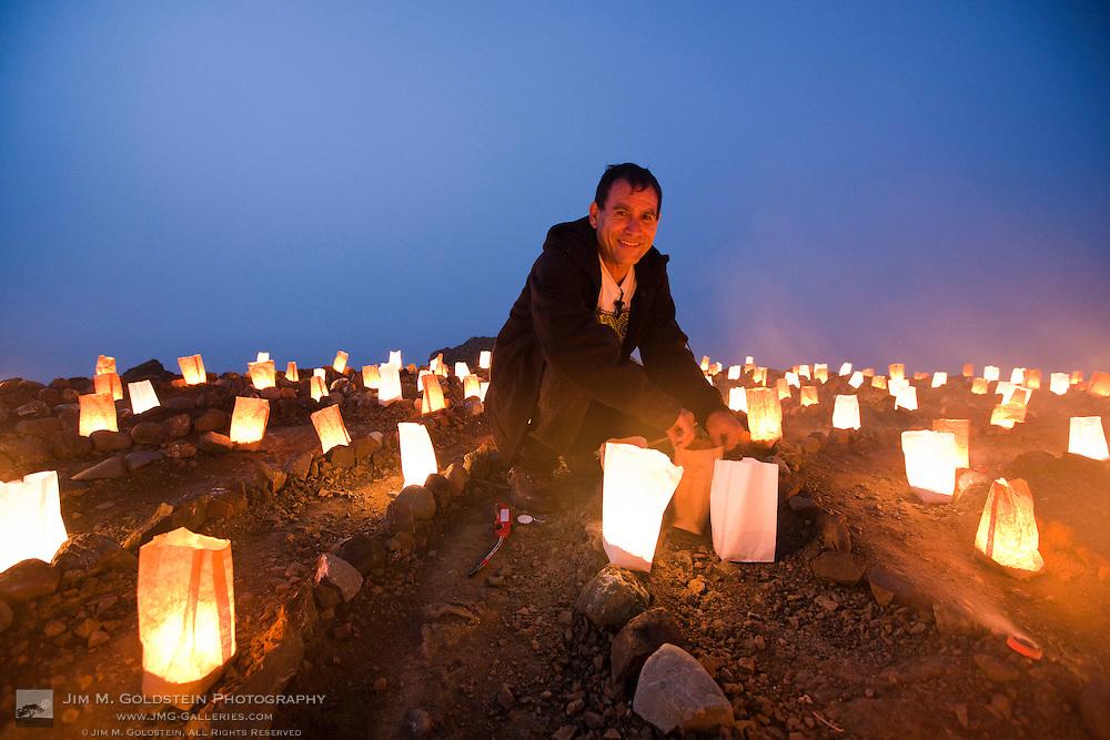 Eduardo Aguilara with Lit Luminaries at the Lands End Labyrinth - San Francisco, California