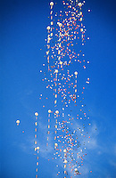 Balloons dropped from a helicopter over the Republic Day Parade, Rajpath, New Delhi, India