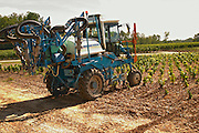 A vineyard tractor equipped with claws to work the soil and remove weed, also equipped for spraying - Chateau Belgrave, Haut-Medoc, Grand Crus Classe 1855