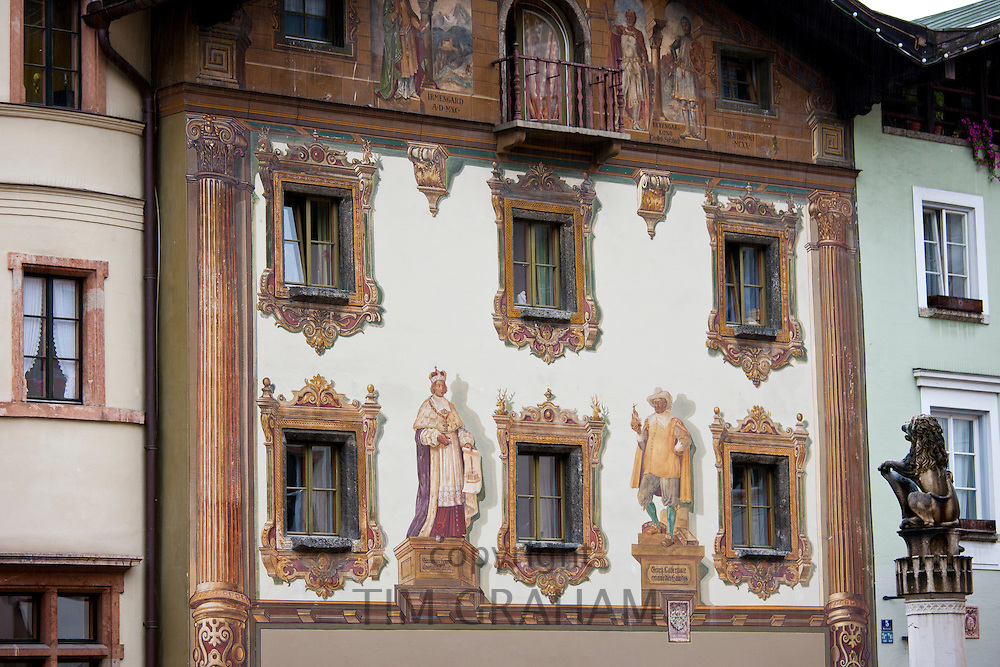 Mural and traditional architecture in Berchtesgaden in Baden-Wurttenberg, Bavaria, Germany
