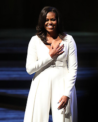 Michelle Obama acknowledges the crowd at the Royal Festival Hall in London during her visit to the UK to publicise her memoir Becoming, which tells of her personal journey to becoming First Lady and her time in the White House.