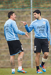 KLAGENFURT, AUSTRIA - Tuesday, March 4, 2014:<br /> Liverpool's Luis Suarez training with his national side Uruguay and Diego Perez at the Woerthersee Arena ahead of the international friendly against Austria. (Pic by JFK/EXPA/Propaganda)