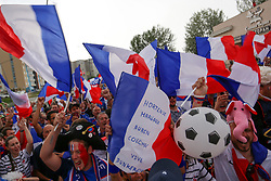 July 6, 2018 - Nizhny Novgorod, Russia - French football fans seen celebrating with their national flags..French football fans celebrate their national football team victory over uruguay during the quarterfinal match of the Russia 2018 world cup finals. (Credit Image: © Aleksey Fokin/SOPA Images via ZUMA Wire)