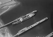 "Ackroyd 07814-1. ""Shell Oil Co. aerials. August 18, 1957"", ""Shell Oil Dock. S. S. Monmouth. Keystone Steamship Co."" (Shell dock at Willbridge tank farm, Willamette River)"