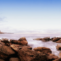 This photo consists of 8 photos stitched together as a panoramic stitch. It is taken between Coogee and Bronte beach. Coogee is a beachside suburb, 8 kilometres south-east of the Sydney central, in the state of New South Wales, Australia. It is also a part of the Eastern Suburbs of Sydney.