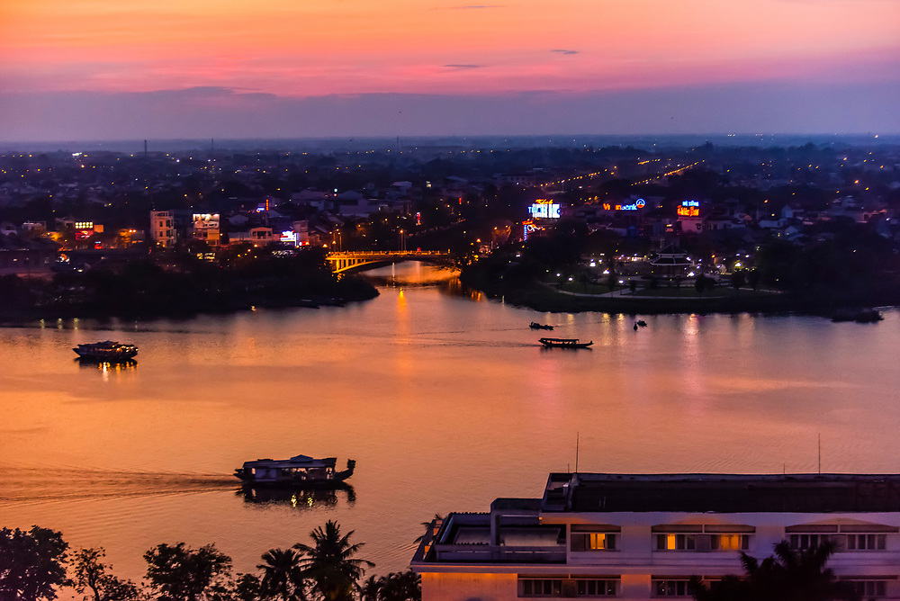 High angle view of the Perfume River at twilight, Hue, Central Vietnam.