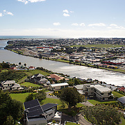 The view from the top of Durie Hill Memorial Tower showing the Whanganui River running through the town to the sea. 27th December 2010. Photo Tim Clayton