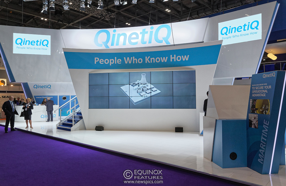 London, United Kingdom - 18 September 2015<br /> Defence technology company QinetiQ at the defence and security exhibition DSEI at ExCeL, Woolwich, London, England, UK.<br /> (photo by: EQUINOXFEATURES.COM)<br /> <br /> Picture Data:<br /> Photographer: Equinox Features<br /> Copyright: ©2015 Equinox Licensing Ltd. +448700 780000<br /> Contact: Equinox Features<br /> Date Taken: 20150918<br /> Time Taken: 13345853<br /> www.newspics.com