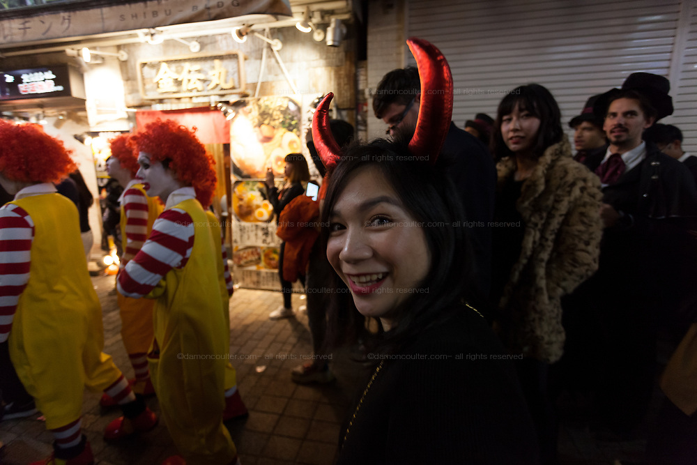 Devil horns during the Halloween celebrations Shibuya, Tokyo, Japan. Saturday October 27th 2018. The celebrations marking this event have grown in popularity in Japan recently. Enjoyed mostly by young adults who like to dress up, drink , dance and misbehave in parts of Tokyo like Shibuya and Roppongi. There has been a push back from Japanese society and the police to try to limit the bad behaviour.