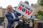 Sir Ed Davey, Liberal Democrat MP joins protesters in Westminster, Central London, United Kingdom on 26th June 2019. Organisers of the Time is Now mass lobby demand politicians end the UKs contribution to climate change.