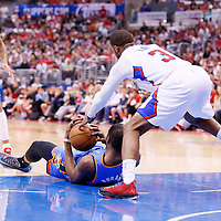 11 May 2014: Oklahoma City Thunder forward Kevin Durant (35) vies for the loose ball with Los Angeles Clippers guard Chris Paul (3) during the Los Angeles Clippers 101-99 victory over the Oklahoma City Thunder, during Game Four of the Western Conference Semifinals of the NBA Playoffs, at the Staples Center, Los Angeles, California, USA.