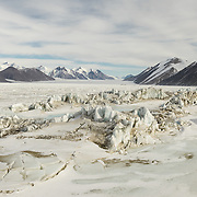 Pressure ridges and Ferrar Glacier in distance.