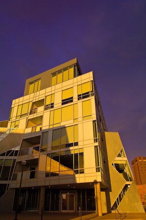 Museum Residences (condominiums) adjacent to the Frederic C. Hamilton Building of the Denver Art Museum (both designed by Daniel Libeskind), Civic Center Cultural Center, Denver, Colorado USA
