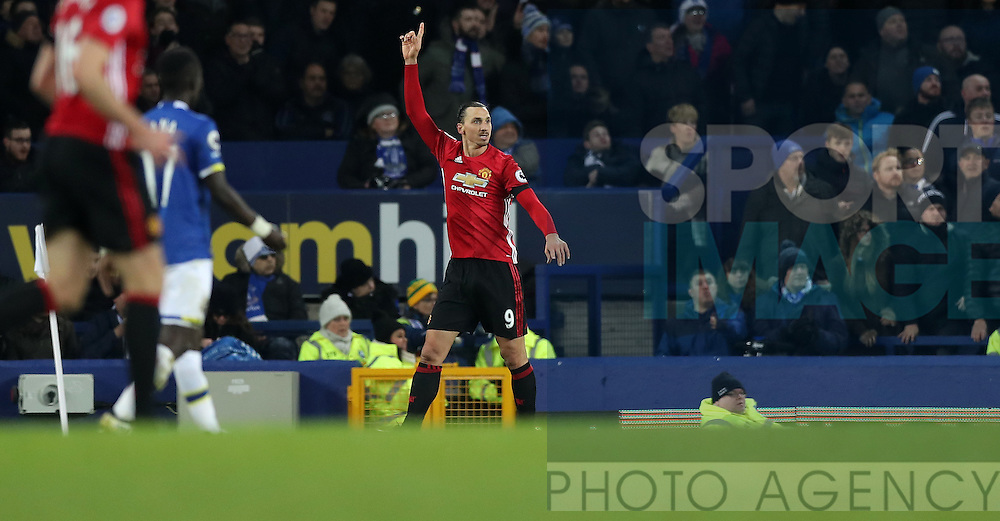 Zlatan Ibrahimovic of Manchester United celebrates scoring during the Premier League match at Goodison Park, Liverpool. Picture date: December 4th, 2016.Photo credit should read: Lynne Cameron/Sportimage