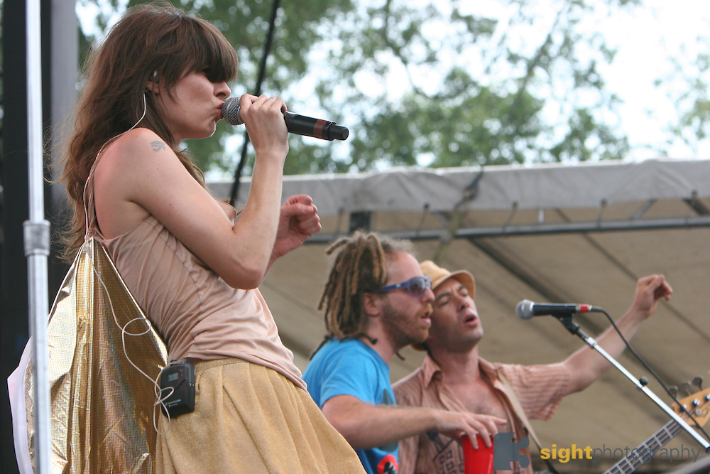Brazilian Girls featuring Sabina Sciubba (lead singer), Didi Gutman (keyboards), Aaron Johnston (drums), and Jesse Murphy (bass) performs during the second day of the 2007 Bonnaroo Music & Arts Festival on June 15, 2006 in Manchester, Tennessee. The four-day music festival features a variety of musical acts, arts and comedians. Photo by Bryan Rinnert