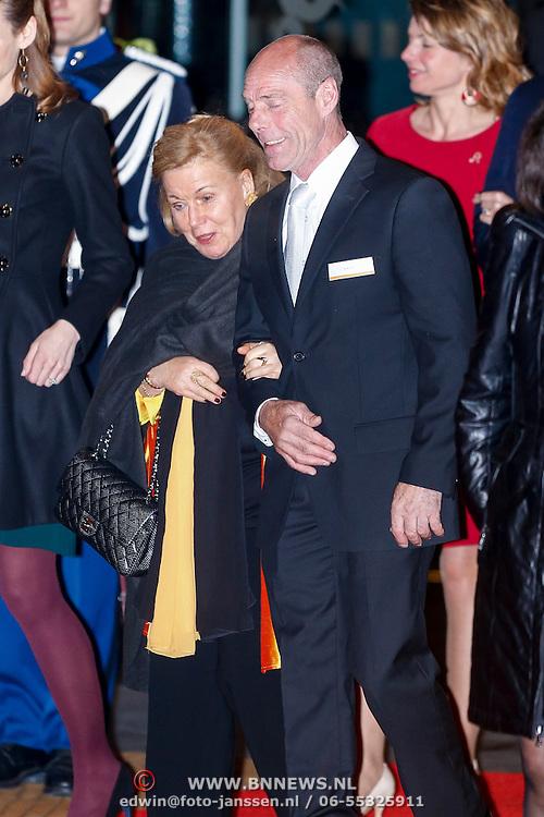NLD/Utrecht/20130201 - Vertrek 75ste verjaardagfeest  Koninging Beatrix, Aimee Söhngen, prinses Christina en dhr. E. Bloem.