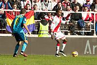 Manucho of Vallecano and Bacca of Sevilla during La Liga match between Rayo Vallecano and Sevilla at Vallecas Stadium in Madrid, Spain. 12, 07, 2014. (ALTERPHOTOS/Luis Fernandez)